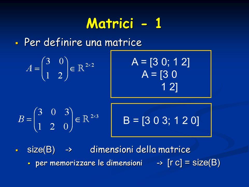 Matrici - 1 Per definire una matrice A = [3 0; 1 2] A = [3 0 1 2]